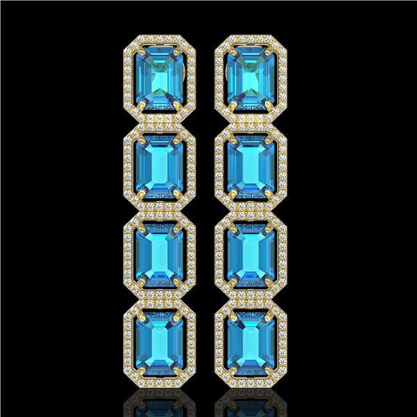 18.99 ctw Swiss Topaz & Diamond Micro Pave Halo Earrings 10k Yellow Gold - REF-184A4N