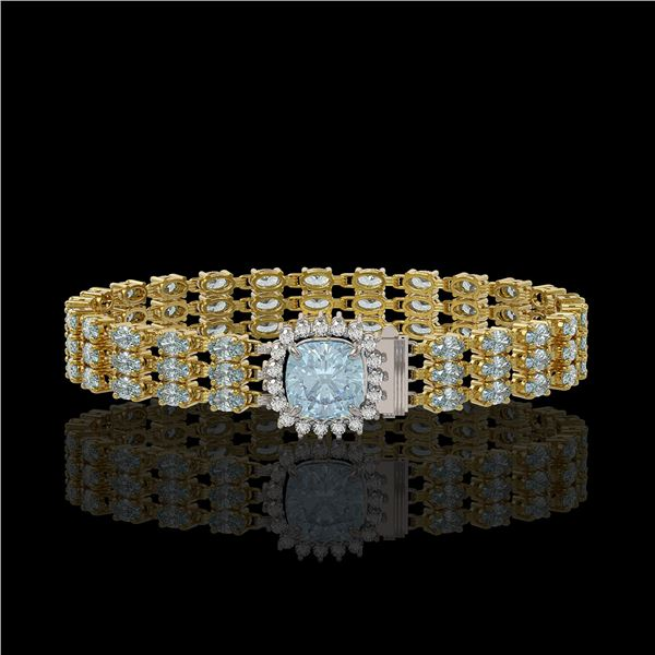 23.78 ctw Aquamarine & Diamond Bracelet 14K Yellow Gold - REF-306F9M