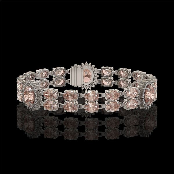 17.3 ctw Morganite & Diamond Bracelet 14K White Gold - REF-302N2F