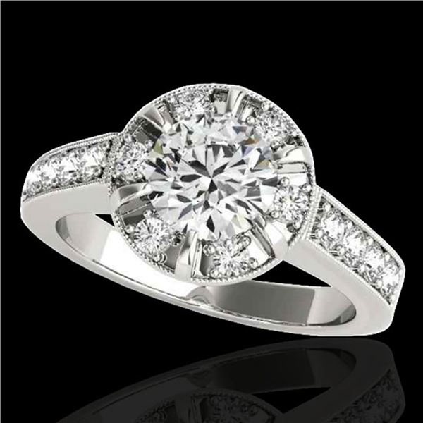 2 ctw Certified Diamond Solitaire Halo Ring 10k White Gold - REF-286Y4X