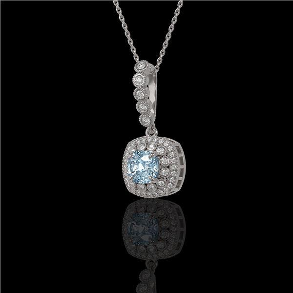 2.25 ctw Aquamarine & Diamond Victorian Necklace 14K White Gold - REF-81M3G