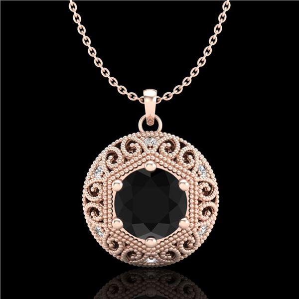 1.11 ctw Fancy Black Diamond Art Deco Stud Necklace 18k Rose Gold - REF-87F3M