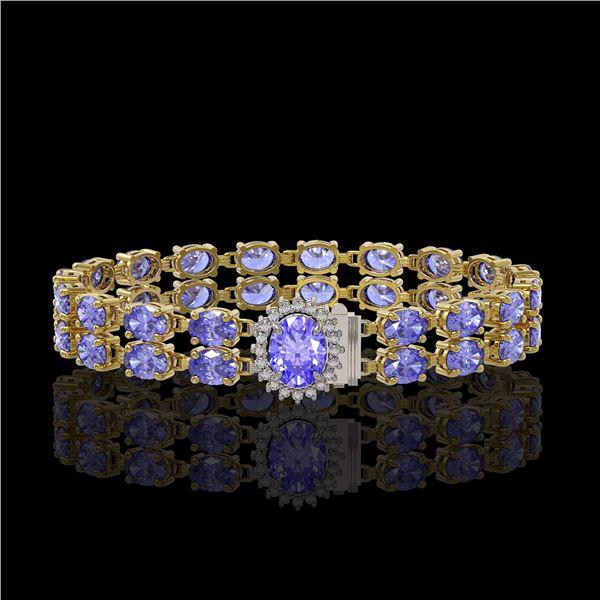 16.37 ctw Tanzanite & Diamond Bracelet 14K Yellow Gold - REF-263H6R