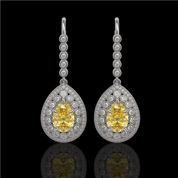 8.15 ctw Canary Citrine & Diamond Victorian Earrings 14K White Gold - REF-244H8R