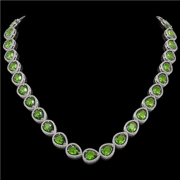33.6 ctw Peridot & Diamond Micro Pave Halo Necklace 10k White Gold - REF-675A3N