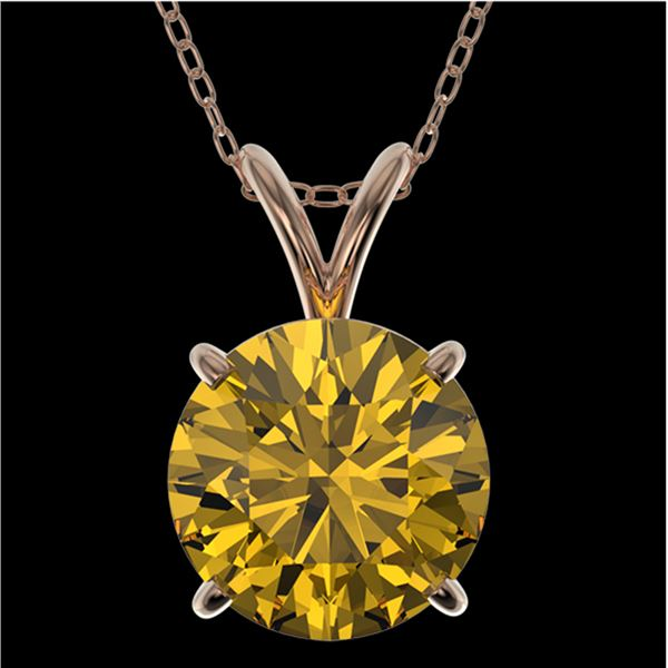 2.03 ctw Certified Intense Yellow Diamond Necklace 10k Rose Gold - REF-392Y8X