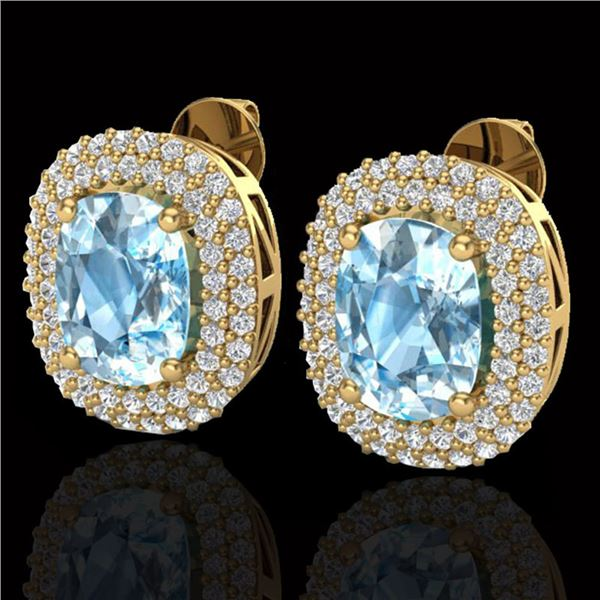 6 ctw Sky Blue Topaz & Micro Pave VS/SI Diamond Earrings 10k Yellow Gold - REF-107W3H