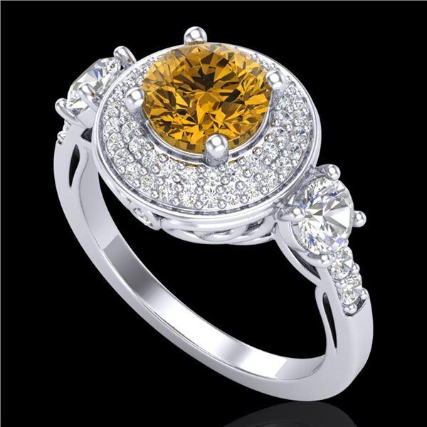 2.05 ctw Intense Fancy Yellow Diamond Art Deco Ring 18k White Gold - REF-345H5R