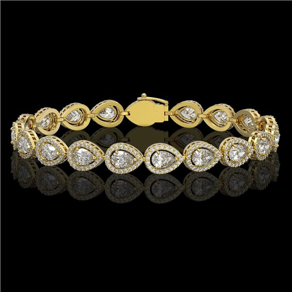 12.38 ctw Pear Cut Diamond Micro Pave Bracelet 18K Yellow Gold - REF-1702X8A