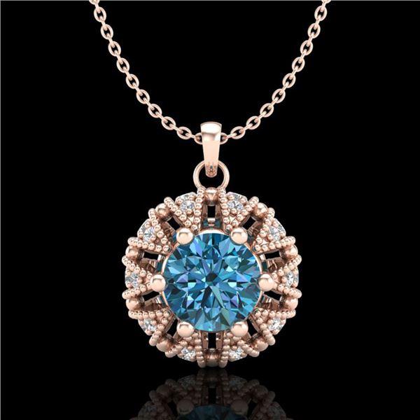 1.2 ctw Fancy Intense Blue Diamond Art Deco Necklace 18k Rose Gold - REF-118M2G