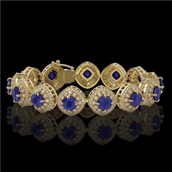 37.35 ctw Sapphire & Diamond Victorian Bracelet 14K Yellow Gold - REF-870A9N