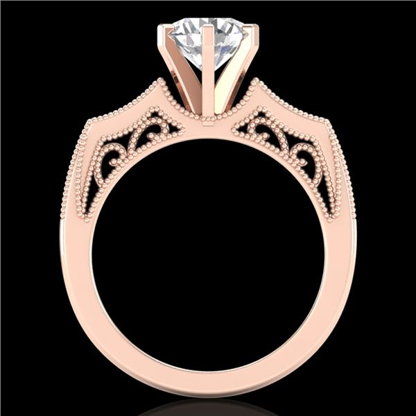 1.51 ctw VS/SI Diamond Solitaire Art Deco Ring 18k Rose Gold - REF-442H5R