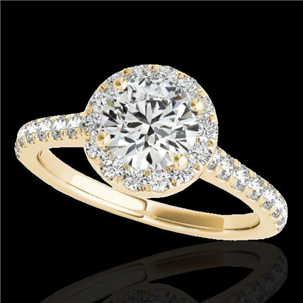1.70 ctw Certified Diamond Solitaire Halo Ring 10k Yellow Gold - REF-257A8N