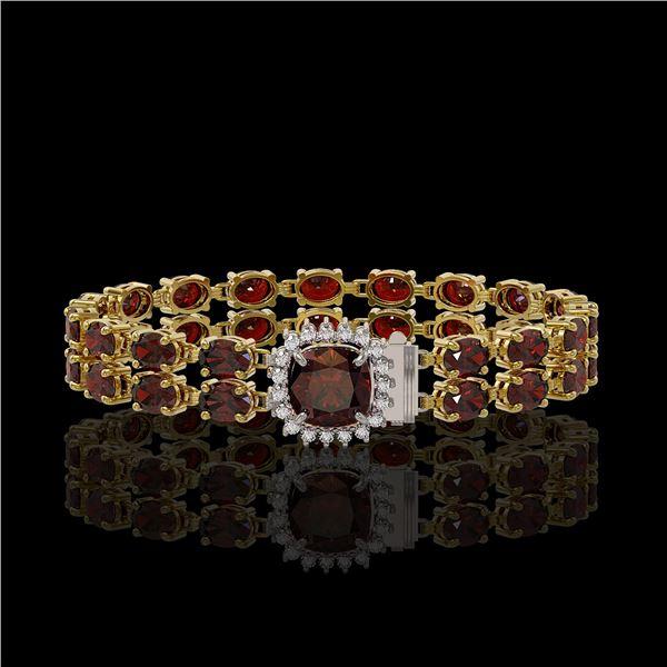 14.98 ctw Garnet & Diamond Bracelet 14K Yellow Gold - REF-178H2R