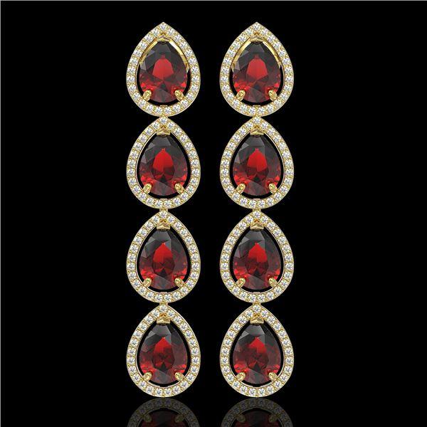 9.25 ctw Garnet & Diamond Micro Pave Halo Earrings 10k Yellow Gold - REF-172R8K