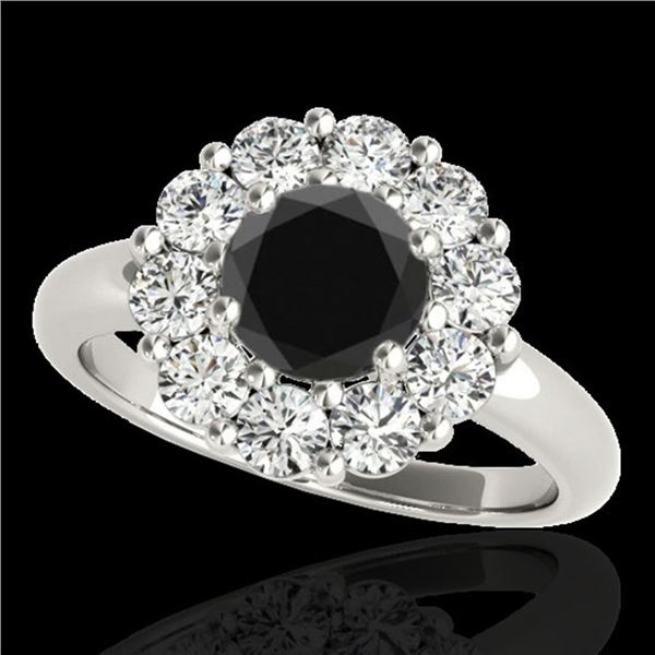 2.85 ctw Certified VS Black Diamond Solitaire Halo Ring 10k White Gold - REF-105Y8X