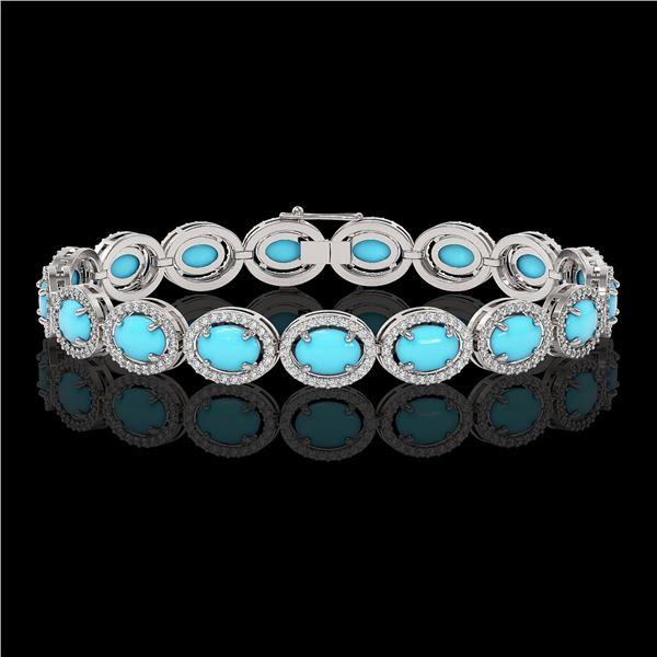 15.83 ctw Turquoise & Diamond Micro Pave Halo Bracelet 10k White Gold - REF-260G8W