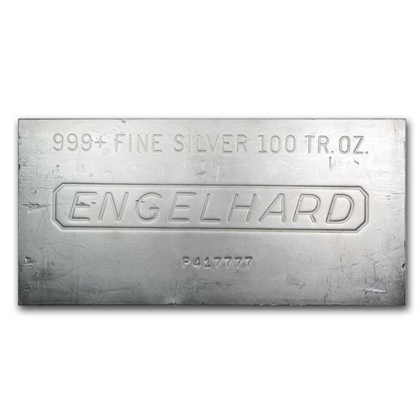 One piece 100 oz 0.999 Fine Silver Bar Engelhard - 62130