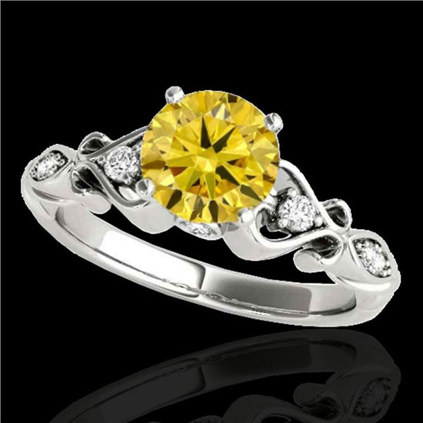 1.15 ctw Certified SI Intense Yellow Diamond Antique Ring 10k White Gold - REF-190K9Y