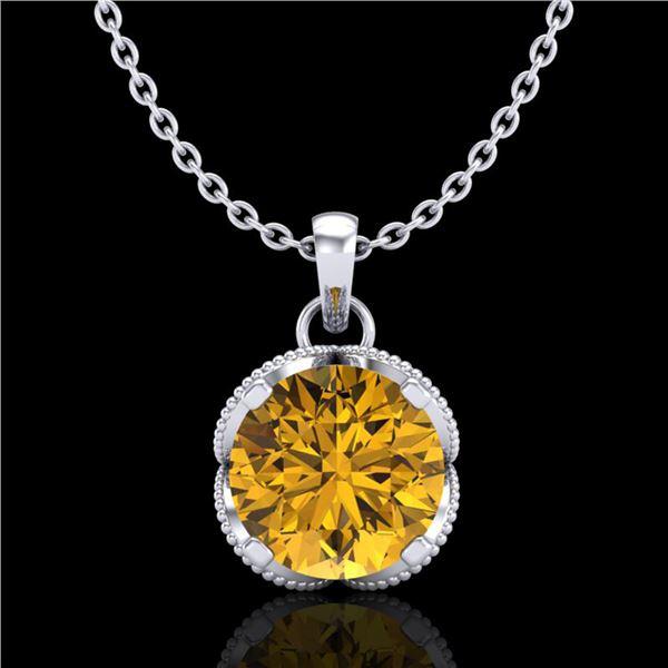 1.13 ctw Intense Fancy Yellow Diamond Art Deco Necklace 18k White Gold - REF-136A4N