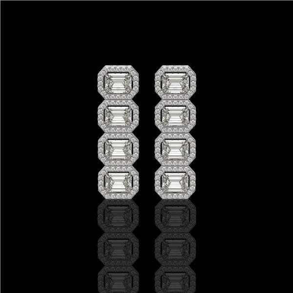 5.33 ctw Emerald Cut Diamond Micro Pave Earrings 18K White Gold - REF-844A2N