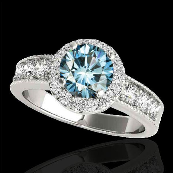 1.85 ctw SI Certified Fancy Blue Diamond Halo Ring 10k White Gold - REF-155N5F