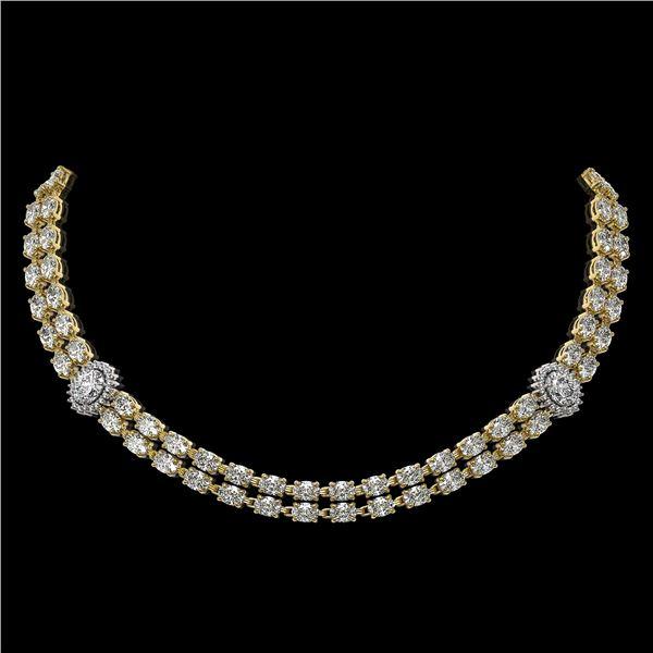 29.98 ctw Rare Oval Diamond Necklace 18K Yellow Gold - REF-3584H9R