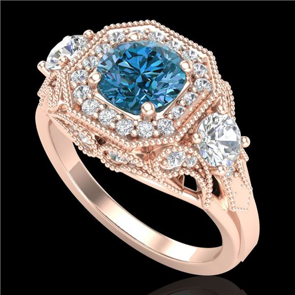 2.11 ctw Intense Blue Diamond Art Deco 3 Stone Ring 18k Rose Gold - REF-283H6R