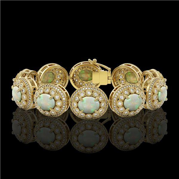 40.37 ctw Certified Opal & Diamond Victorian Bracelet 14K Yellow Gold - REF-1402W4H
