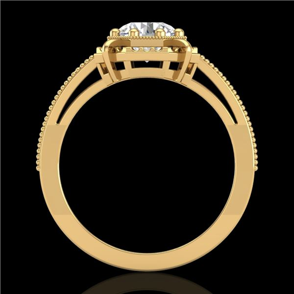 1 ctw VS/SI Diamond Solitaire Art Deco Ring 18k Yellow Gold - REF-318M3G