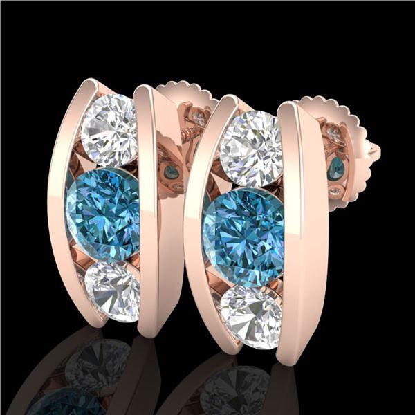 2.18 ctw Fancy Intense Blue Diamond Art Deco Earrings 18k Rose Gold - REF-254H5R