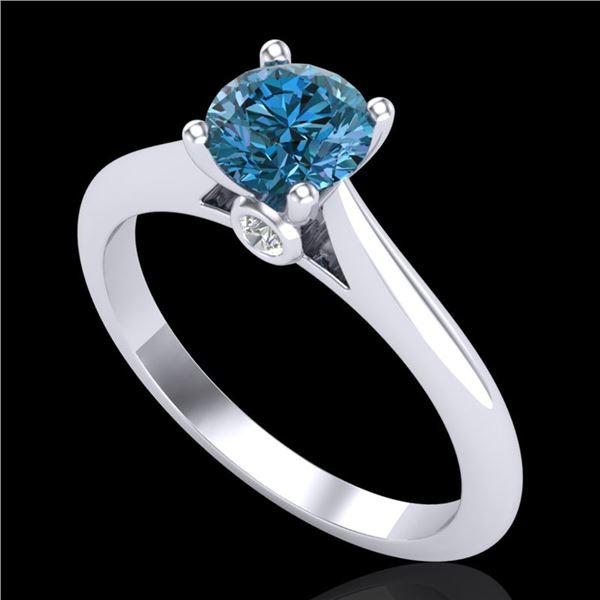 0.83 ctw Fancy Intense Blue Diamond Art Deco Ring 18k White Gold - REF-80N5F