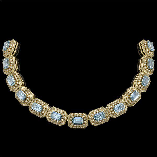 49.14 ctw Aquamarine & Diamond Victorian Bracelet 14K Yellow Gold - REF-1361X5A