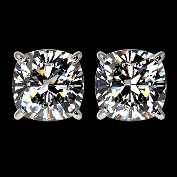 2.50 ctw VS/SI Quality Cushion Diamond Stud Earrings 10k White Gold - REF-601R4K