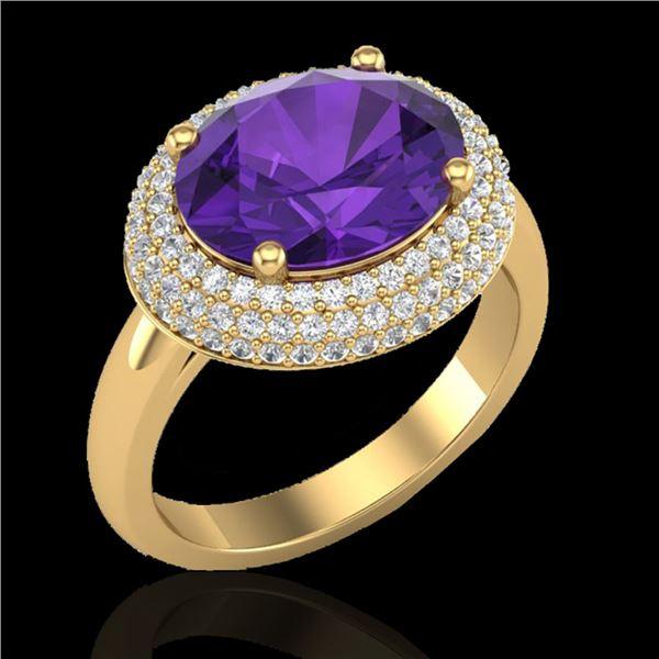 4 ctw Amethyst & Micro Pave VS/SI Diamond Ring 18k Yellow Gold - REF-98N5F
