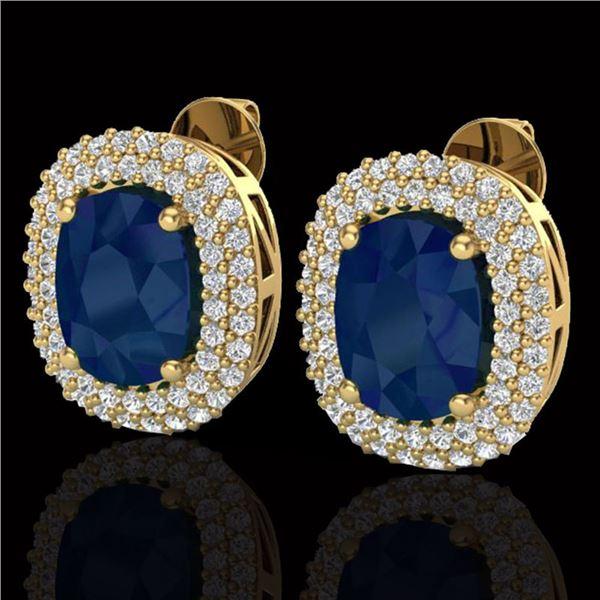 6.30 ctw Sapphire & Micro Pave VS/SI Diamond Earrings 18k Yellow Gold - REF-160H9R