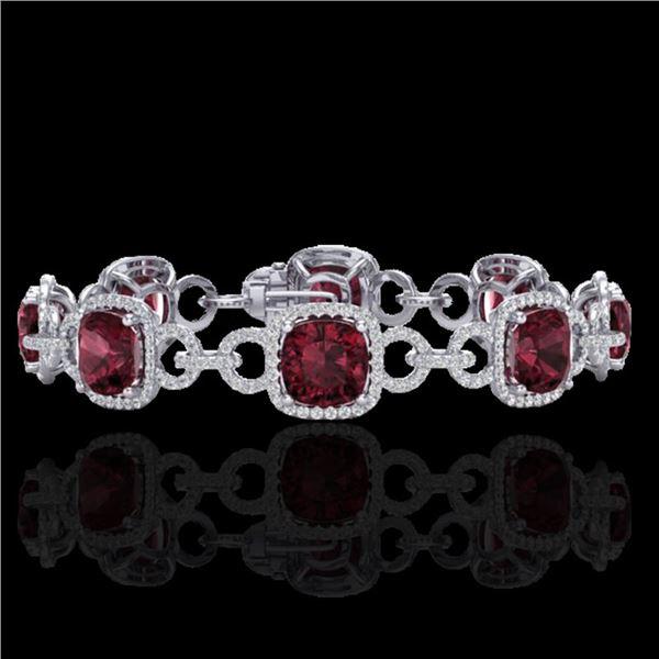 30 ctw Garnet & Micro VS/SI Diamond Certified Bracelet 14k White Gold - REF-368H9R