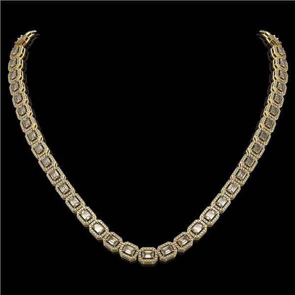 21.12 ctw Emerald Cut Diamond Micro Pave Necklace 18K Yellow Gold - REF-2509H6R