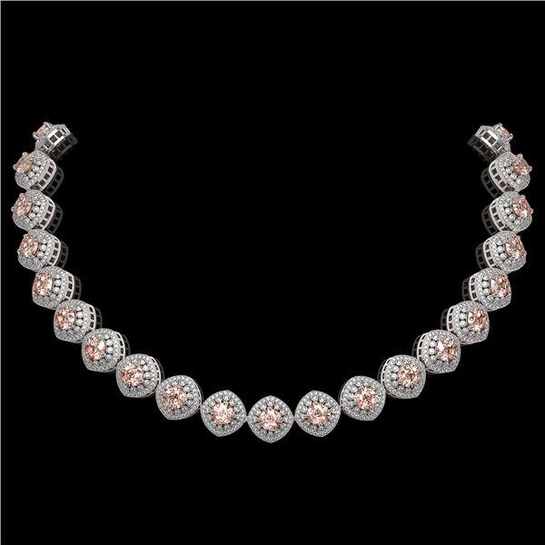 68.97 ctw Morganite & Diamond Victorian Necklace 14K White Gold - REF-2349M8G