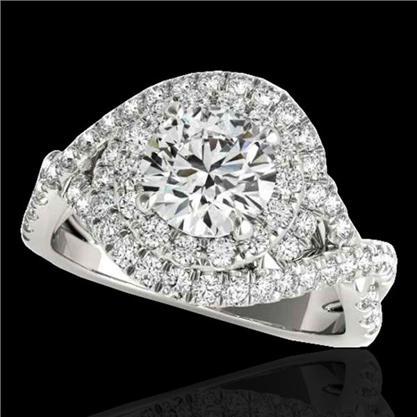 1.75 ctw Certified Diamond Solitaire Halo Ring 10k White Gold - REF-218X2A
