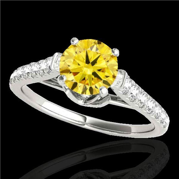 1.46 ctw Certified SI/I Fancy Intense Yellow Diamond Ring 10k White Gold - REF-182Y8X