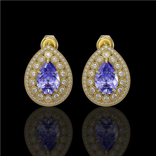8.54 ctw Tanzanite & Diamond Victorian Earrings 14K Yellow Gold - REF-436R4K