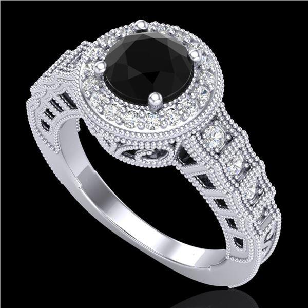 1.53 ctw Fancy Black Diamond Engagment Art Deco Ring 18k White Gold - REF-127F3M