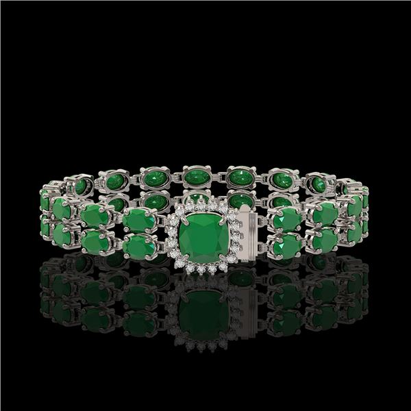 19.85 ctw Emerald & Diamond Bracelet 14K White Gold - REF-245X5A