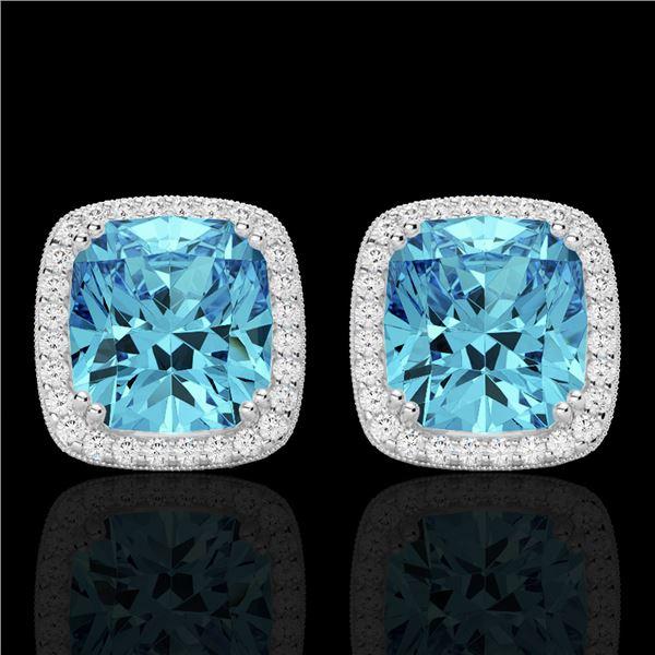 6.50 ctw Sky Blue Topaz & Micro VS/SI Diamond Earrings 18k White Gold - REF-75W6H