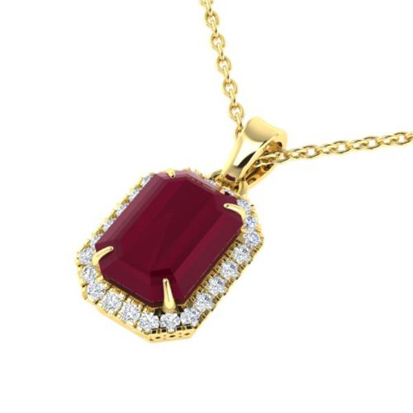5.50 ctw Ruby & Micro Pave VS/SI Diamond Necklace 18k Yellow Gold - REF-79M6G