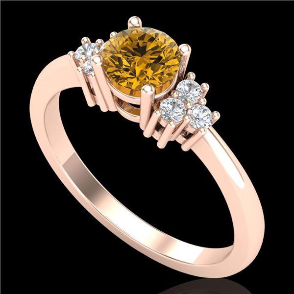 0.75 ctw Intense Fancy Yellow Diamond Engagment Ring 18k Rose Gold - REF-107N3F