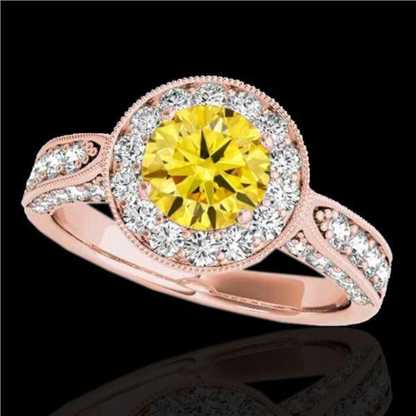 2 ctw Certified SI/I Fancy Intense Yellow Diamond Halo Ring 10k Rose Gold - REF-225M2G