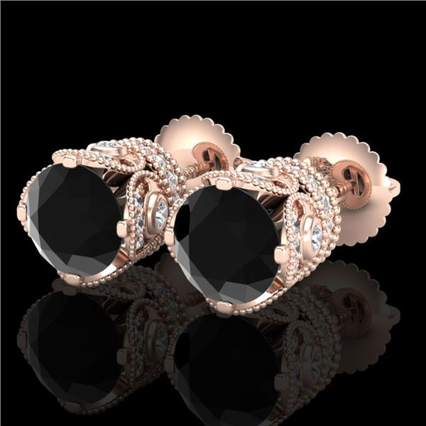 3 ctw Fancy Black Diamond Art Deco Stud Earrings 18k Rose Gold - REF-178N2F