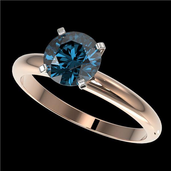 1.50 ctw Certified Intense Blue Diamond Engagment Ring 10k Rose Gold - REF-147N3F